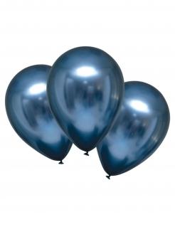 Glänzende Luftballons mit Satineffekt 6 Stück marineblau 28 cm
