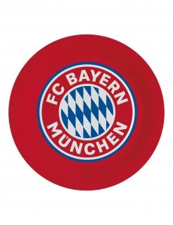 FC Bayern München™ Pappteller 8 Stück rot-weiß-blau 23 cm