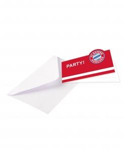 FC Bayern München™ Einladungskarten 8 Stück rot-weiß-blau 13 x 8 cm