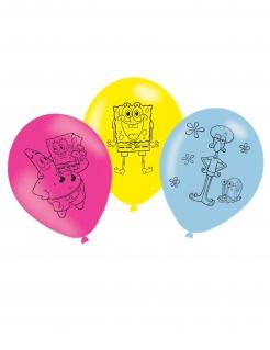 Fröhliche Spongebob-Schwammkopf™-Luftballons 6 Stück bunt 27 cm