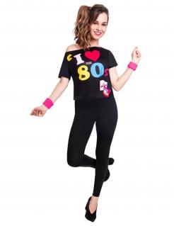 80er-T-Shirt für Damen I love the 80s Faschingskostüm schwarz-bunt