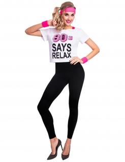 80er-T-Shirt für Damen 80s says relax Faschingskostüm weiss-pink
