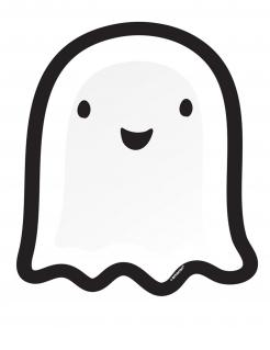 Niedlicher Geister-Pappteller Halloween-Tischdeko 8 Stück weiss-schwarz 27 cm