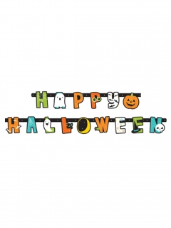 Happy Halloween-Girlande mit Geistern und Kürbissen Halloween-Partydeko bunt 1,90 m