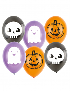 Geist-Luftballons Halloween-Partydeko 6 Stück violett-weiss 23 cm