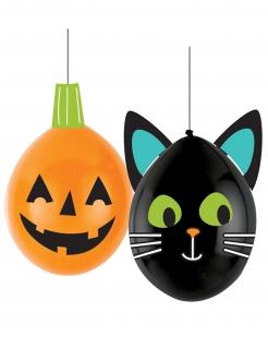 Halloween-Luftballons zum Gestalten Halloween-Deko orange-schwarz 30 cm