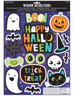 Happy Halloween-Sticker für Fenster Halloween-Deko bunt