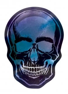 Skelett-Teller in Schädelform Boneshine Fever Halloween-Partydeko 8 Stück schwarz-blau-violett 25 cm
