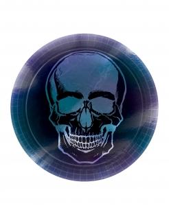 Skelett-Pappteller Boneshine Fever Halloween-Partydeko 8 Stück schwarz-blau-violett 23 cm