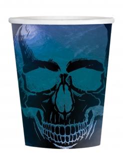 Skelett-Trinkbecher Boneshine Fever Halloween-Partydeko 16 Stück schwarz-blau 250 ml
