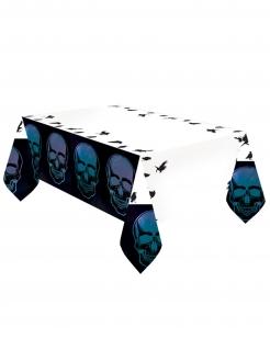 Skelett-Tischdecke Boneshine Fever Halloween-Partydeko schwarz-weiss-blau 1,2 x 1,8 m