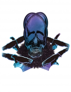 Tischdekoration Boneshine Fever mit Schädel und Raben Halloween-Partydeko blau-schwarz-violett 35x27 cm