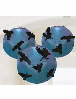 Raben-Laternen Halloween-Deko 5 Stück blau-schwarz
