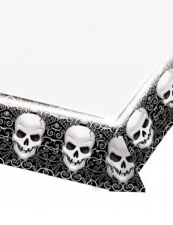 Totenkopf-Tischdecke Partydeko Halloween schwarz-weiss 137x259 cm