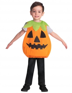Kürbis-Tunika für Kinder Halloween-Kostüm orange-grün-schwarz