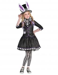Süsses Hutmacherin-Kostüm für Mädchen Halloween-Kostüm schwarz-weiss-violett