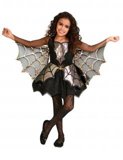 Niedliches Spinnen-Kostüm für Mädchen Halloweenkostüm schwarz-gold