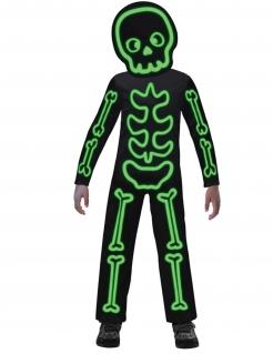 Phosphoreszierendes Skelett-Kostüm für Kinder Halloween-Kostüm schwarz-grün