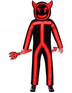 Teufel-Kostüm für Kinder phosphoreszierend Halloween-Kostüm schwarz-rot