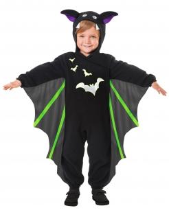 Fledermaus-Kostüm für Kinder Halloween-Kostüm schwarz-grün-violett