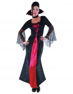 Schickes Vampir-Kostüm für Damen Halloweenkostüm schwarz-rot