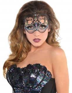 Meerjungfrau-Maske für Damen Augenmaske Fasching schwarz-grün-blau