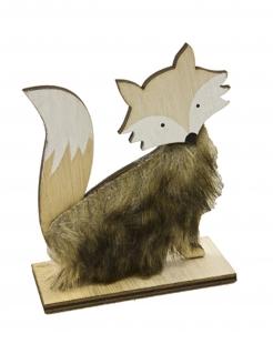 Fuchs-Dekofigur aus Holz mit Fell Weihnachtsdeko braun 12 x 9,6 cm