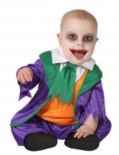 Verrücktes Clown-Kostüm für Babys Halloweenkostüm violett-grün-orange