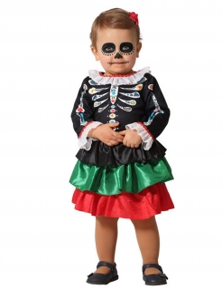 Día de los Muertos-Kostüm für Babys Halloweenkostüm bunt