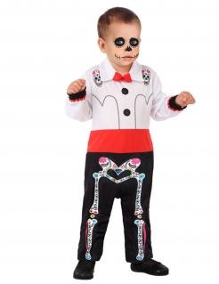 Tag der Toten-Kostüm für Babys Halloweenkostüm schwarz-weiss-rot