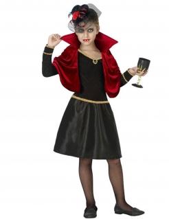 Vampirin-Kostüm für Mädchen Halloweenkostüm schwarz-rot