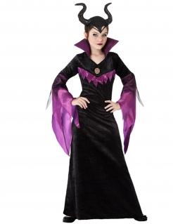 Dunkles Fee-Kostüm für Mädchen Halloweenkostüm schwarz-violett