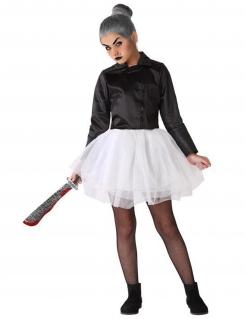 Mörderpuppe-Kostüm für Mädchen Halloweenkostüm schwarz-weiss