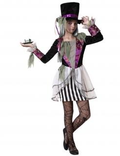 Hutmacherin-Kostüm für Mädchen Halloween-Kostüm schwarz-weiss-violett