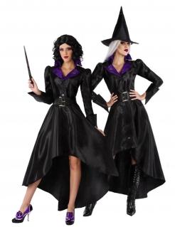 Hexen-Kostüm für Damen mit Hut Halloweenkostüm schwarz-violett