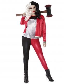 Gruseliges Harlekin-Kostüm für Damen Halloweenkostüm schwarz-rot-grau