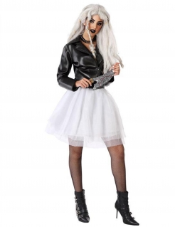 Mörderisches Rocker-Kostüm für Damen Halloweenkostüm schwarz-weiss