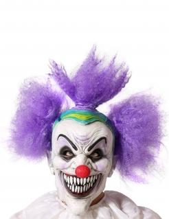 Horrorclown-Maske mit spitzen Zähnen für Erwachsene Halloween-Maske weiss-violett