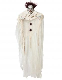 Horrorclown-Dekofigur Halloween-Deko weiss-schwarz 130 cm