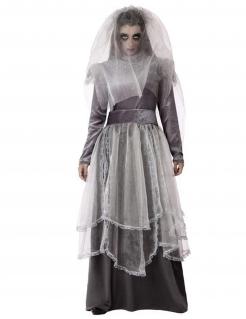 Geisterbraut-Kostüm für Damen Halloweenkostüm grau