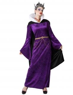 Fiese Königin-Kostüm für Damen Halloweenkostüm violett-schwarz-gold