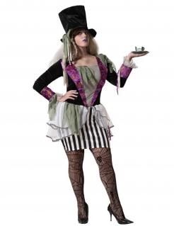 Dunkles Hutmacherin-Kostüm für Damen Halloweenkostüm schwarz-weiss-violett