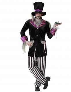 Dunkler Hutmacher-Kostüm für Herren Halloweenkostüm schwarz-weiss-violett