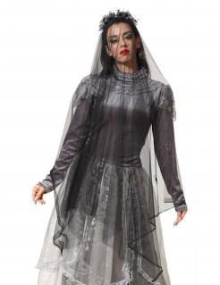 Geisterbraut-Schleier für Damen mit Totenköpfen Halloween-Accessoire grau