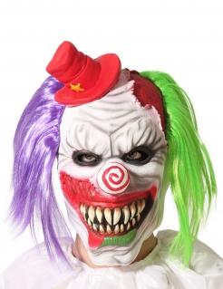 Horror-Clown-Maske mit Hütchen für Herren Halloween-Maske bunt