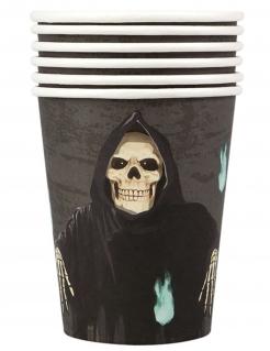 Sensenmann-Trinkbecher Halloween-Partydeko 6 Stück schwarz-weiss 10 cm