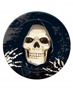 Kleiner Sensenmann-Pappteller Halloweendeko 6 Stück schwarz-weiss 18 cm