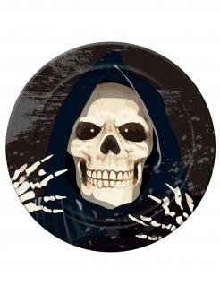 Sensenmann-Pappteller Halloween-Tischdeko 6 Stück schwarz 23 cm