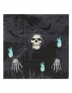 Sensenmann-Servietten Halloween-Tischdeko 20 Stück schwarz 17x17 cm
