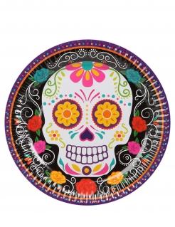 Kleine Tag der Toten-Pappteller Halloween-Tischdeko 6 Stück bunt 18 cm